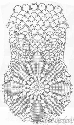 схема,Салфетка круглая вязаная крючком, по центру красивый цветок и листья