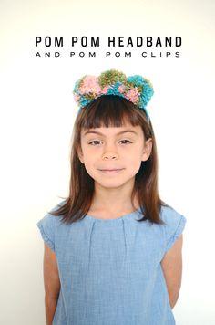 Pom pom headband and clips