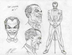 Joker character design by Alex Ross Comic Book Artists, Comic Book Characters, Comic Character, Comic Books Art, Comic Art, Character Concept, Harley Quinn Drawing, Joker And Harley Quinn, Joker Sketch