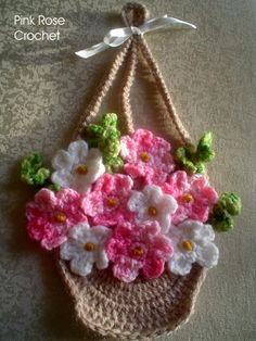 \ PINK ROSE CROCHET /: Pega Panelas Cesta de Flores - Flowers Basket Pot Holders