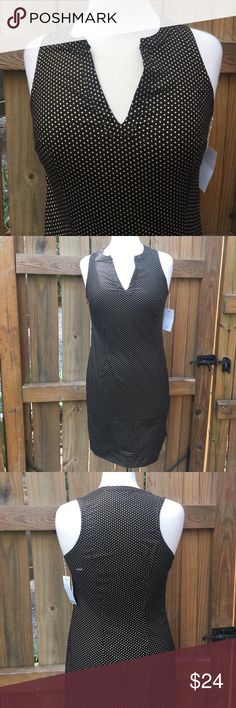 NWT Boutique Dress Adorable black with gold polka dots - zips on side and runs small - 109% cotton Boutique Dresses Midi