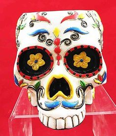 Day Of The Dead White Sugar Skull Utility Stationery Pen Holder DOD Dia Muertos