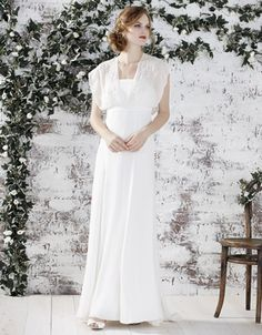 Savannah Bridal Dress Bring that feeling of vintage romance with the beautiful shoulder cover trend. A style that may suit brides looking to add further shape to their silhouette for more straighter shapes.