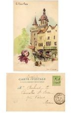 cartolina 1900 illustratore Francia Parigi  Vieux Paris France signed postcard