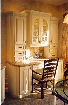kitchen desk cabinets