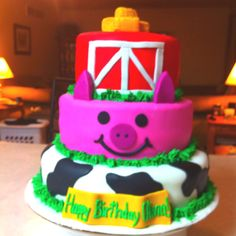 Farm theme birthday cake