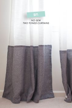 DIY Two Toned Curtains. No Sew! // www.kfor.com