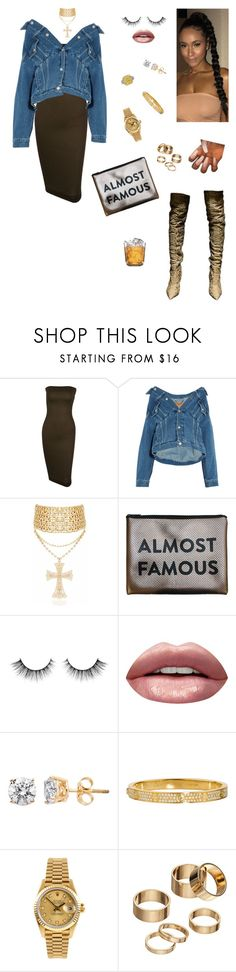 """Karaoke night🎤"" by styledbystaes ❤ liked on Polyvore featuring Balenciaga, MyTagalongs, Huda Beauty, Cartier, Rolex, Apt. 9 and Black Apple"