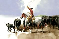 """""""Ropin with Roanie"""" ~ Don Weller Watercolor  13 x 19  Original watercolor artwork by Don Weller western artist featuring a cowboy roping a cow and calf during a roundup for branding"""
