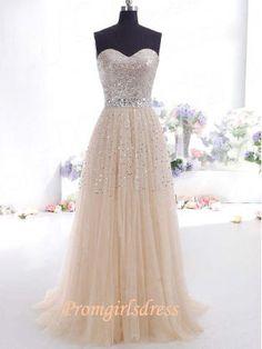 Ivory Sequins Modest Strapless Long Prom Dress, homecoming dress, evening dress, party dress, wedding dress, bridesmaid dress