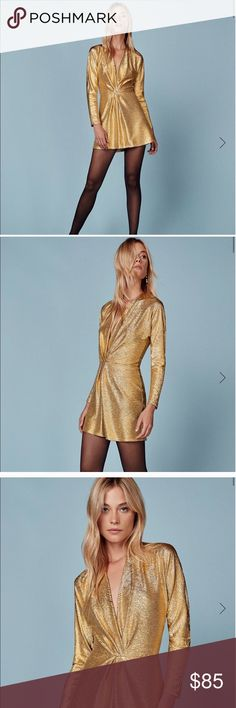REFORMATION Gold dress Amazing sparkly gold dress from reformation. Very comfy and not at all itchy. Bought from another posher and never worn. Perfect for new years or any other going out occasion!! Reformation Dresses Mini