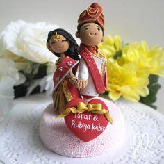 Cute Custom Wedding Cake Topper- Indian traditional Wedding Theme