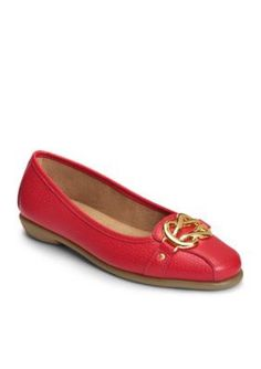 AEROSOLES Red Leathe High Bet Casual Loafer