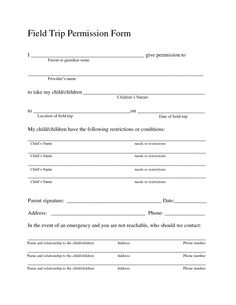 35 Permission Slip Templates & Field Trip Forms | Places to Visit ...