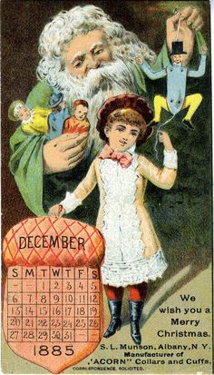 December 1885 Christmas Calendar Advertising Trade Card