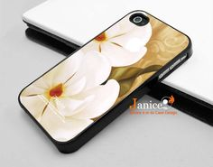 iphone 4s case ,white flower design  iphone 4  cover iphone 4 case iphone 4 case iphone 4 cover oil  painting 235. $13.99, via Etsy.