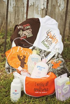 On the hunt Baby Shower Gift Set   New Baby Gift by personalityink, $70.00