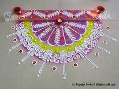 Innovative semi-circle rangoli using paper quilling comb | Diwali special rangoli by Poonam Borkar - YouTube