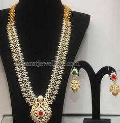 Jewellery Designs: Diamond Mango Haar with Jhumka