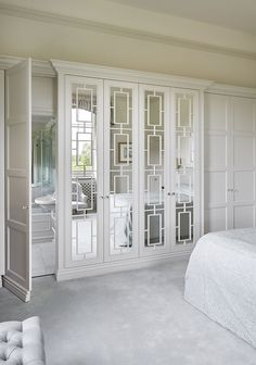 Burford / Cotswolds Built In Fitted Wardrobes The Chic Technique: Closet Doors With Mirrors. The Heritage Wardrobe Company<br> For more design ideas go to Designs and News pages. Mirror Closet Doors, Bathroom Doors, Mirror Door, Mirrored Wardrobe Doors, Bathroom Closet, Floor Mirror, Master Bedroom Closet, Bedroom Wardrobe, Wardrobe Closet