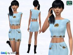 Just for your sims: Leather skirt and crop top set • Sims 4 Downloads Check more at http://sims4downloads.net/just-for-your-sims-leather-skirt-and-crop-top-set/