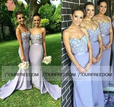 0b4a28f4af3 2016 Lilac Sweetheart Long Mermaid Bridesmaid Dress Flowers Appliques  Beaded Longo Maid Of Honor Dress Guest