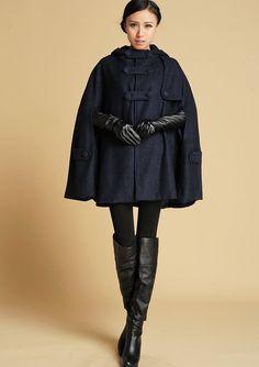 Dark Blue Wool Cape - Navy Blue Cape - Warm Winter Cape - Hooded Cape -Winter Fashion  - Womens Outerwear - Coat (391) by xiaolizi on Etsy https://www.etsy.com/listing/47884527/dark-blue-wool-cape-navy-blue-cape-warm