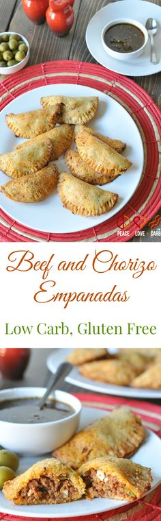 Beef and Chorizo Empanadas - Low Carb, Gluten Free Peace Love and Low Carb Quick and easy low carb beef and chorizo empanadas. Your favorite Argentinian food is back on the table in a low carb and gluten free version. Mexican Food Recipes, Beef Recipes, Real Food Recipes, Cooking Recipes, Chorizo Recipes, Snacks Recipes, Ketogenic Recipes, Gluten Free Recipes, Low Carb Recipes