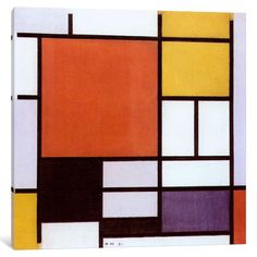 iCanvas Composition with Red Plane,, Black, Gray & Blue by Piet Mondrian Canvas Print