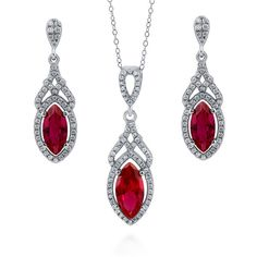 Sterling Silver Simulated Ruby CZ Art Deco Halo Earrings and Necklace... ($85) ❤ liked on Polyvore featuring jewelry, earrings, jewelry sets, necklaces, sets, ruby, women's accessories, cubic zirconia earrings, cubic zirconia pendant and sterling silver chain earrings