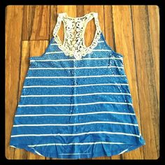 Sequined Tank Blue and white. Racerback with lace detail. Sequins cover front of tank. Blue with white stripes. Tags removed from inside of tank.*30% off bundles* Express Tops Tank Tops