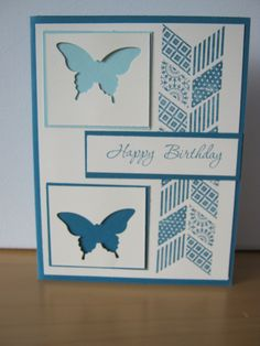 pretty blue butterfly happy birthday pattern cute diy card with design from Sue Nebel