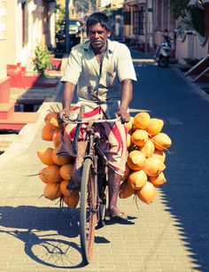 Man on bike selling King Coconuts in Galle Sri lanka Qi Gong, Galle Sri Lanka, Kung Fu, Taiwan, Laos, Sri Lanka Photography, Village Photography, Nepal, Taj Mahal