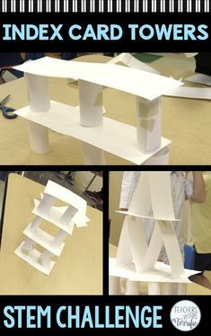 This STEM Tower Challenge is one of the easiest to prepare and the most challenging to complete! It's a perfect challenge to get all kids involved in . Steam Activities, Science Activities, Activities For Kids, Stem Science, Stem Projects For Kids, Stem For Kids, School Projects, Team Games For Kids, Stem Classes
