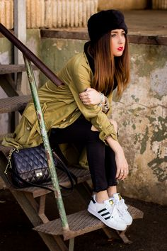 Adidas Superstar And Khaki Trench