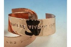 """make copper jewelry out of pipe. Copper jewelry is prized for its burnished """"red"""" color and for the belief among holistic healers that it can relieve arthritis pain. Many believe copper also has other healing properties. Copper Bracelet, Copper Jewelry, Wire Jewelry, Jewelry Art, Copper Art, Jewelry Ideas, Jewelery, Metal Jewellery, Jewelry Knots"""