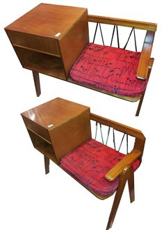 1950s-60s Telephone Table with lace back and atomic scraffito barkcloth seat-pad.