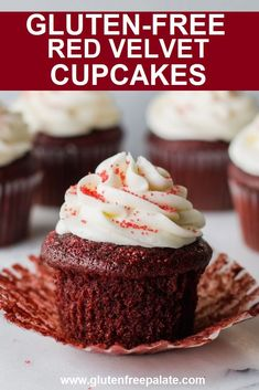 Easy to make gluten free red velvet cupcakes that are tender and perfect with buttercream or cream cheese frosting. Easy to make gluten free red velvet cupcakes that are tender and perfect with buttercream or cream cheese frosting. Cupcake Recipes, Baking Recipes, Dessert Recipes, Fun Recipes, Kitchen Recipes, Gluten Free Chocolate, Chocolate Recipes, Mint Chocolate, Chocolate Chips
