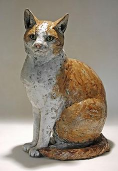 Clay cat sculpture.