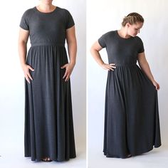 Learn how to sew a maxi dress with this easy to follow sewing tutorial. Based on a free tee shirt pattern in size large. How to make a women's summer dress.