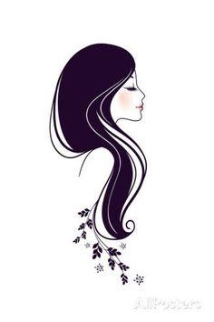 Silhouette vector image on VectorStock Beauty Logo, Beauty Art, Logo Fleur, Art Beauté, Artist Logo, Silhouette Art, Woman Silhouette, Arte Floral, Figurative Art