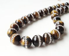 Tiger's Eye Beads  Tigers Eye Round Beads  Brown by BijiBijoux