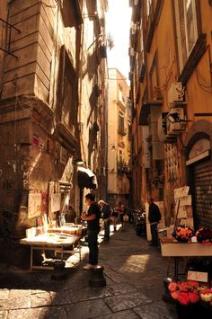 Bookseller's street in Naples, Italy