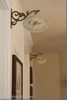 hall signs = wood craft plaque, metal shelf bracket, cup hook, rub-on or transferred words