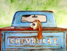 Basset Hound Print Hound Dog Blues Watercolor by PaintedbyCarol Truck Paint, Hound Dog, Pics Art, Old Trucks, Dog Art, Watercolor Paintings, Painting Art, Watercolour, Canvas Art