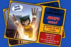 Wolverine Lego Birthday Invitations