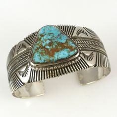 Sterling Silver Cuff Bracelet with Hand Stamped and Filed Designs and set with Natural Pilot Mountain Turquoise from Nevada. Cuff Width Inside Measurement, plus opening Total Circumference) Cuff Jewelry, Sterling Silver Cuff Bracelet, Silver Jewelry, Silver Rings, Cuff Bracelets, Gold Jewellery, Antique Jewelry, Jewelry Box, Jewlery