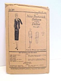 A Fabulous 1921 Butterick Sewing Pattern # 2139. This is a misses 1920's dress…