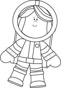 Black and White Little Girl Astronaut | Crafts and Worksheets for Preschool,Toddler and Kindergarten