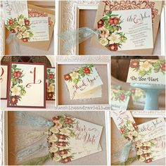 Vintage Garden Wedding Invitations Marsala Floral with Lace ties  These unique vintage style wedding invitations are HAND MADE in my studio: